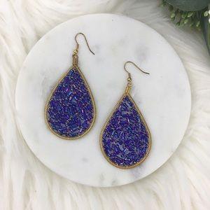 Lapis Blue Beaded Teardrop Earrings